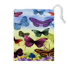 Butterfly Painting Art Graphic Drawstring Pouches (Extra Large)