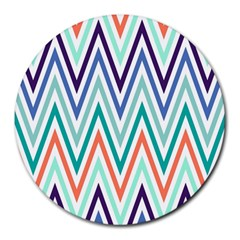 Chevrons Colourful Background Round Mousepads