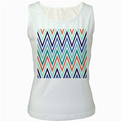 Chevrons Colourful Background Women s White Tank Top