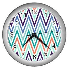 Chevrons Colourful Background Wall Clocks (Silver)