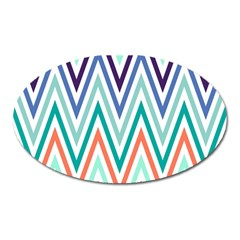 Chevrons Colourful Background Oval Magnet
