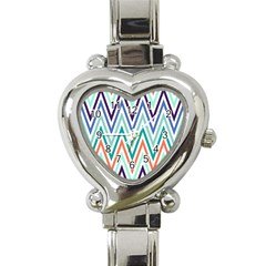 Chevrons Colourful Background Heart Italian Charm Watch