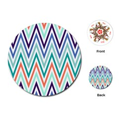 Chevrons Colourful Background Playing Cards (round)