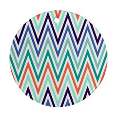 Chevrons Colourful Background Round Ornament (Two Sides)
