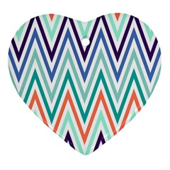 Chevrons Colourful Background Heart Ornament (Two Sides)