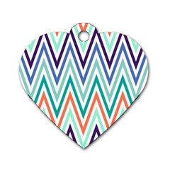 Chevrons Colourful Background Dog Tag Heart (Two Sides)