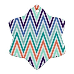 Chevrons Colourful Background Snowflake Ornament (Two Sides)