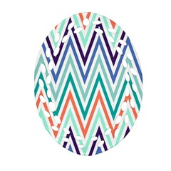 Chevrons Colourful Background Ornament (Oval Filigree)