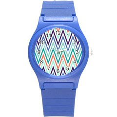 Chevrons Colourful Background Round Plastic Sport Watch (s)