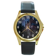 Castle Mystical Mood Moonlight Round Gold Metal Watch