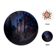 Castle Mystical Mood Moonlight Playing Cards (Round)