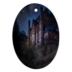 Castle Mystical Mood Moonlight Oval Ornament (Two Sides)