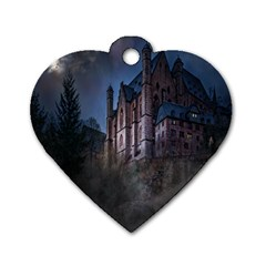 Castle Mystical Mood Moonlight Dog Tag Heart (Two Sides)