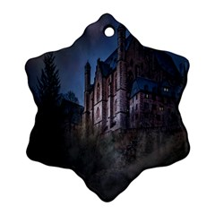 Castle Mystical Mood Moonlight Snowflake Ornament (Two Sides)