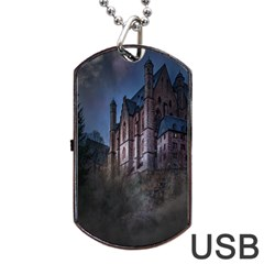 Castle Mystical Mood Moonlight Dog Tag USB Flash (Two Sides)