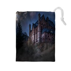 Castle Mystical Mood Moonlight Drawstring Pouches (large)