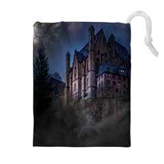 Castle Mystical Mood Moonlight Drawstring Pouches (Extra Large)