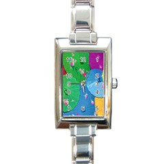 Chinese Umbrellas Screens Colorful Rectangle Italian Charm Watch