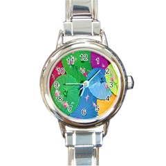 Chinese Umbrellas Screens Colorful Round Italian Charm Watch