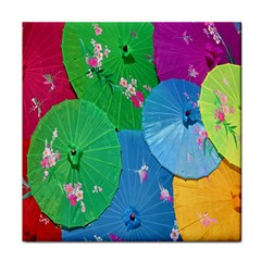 Chinese Umbrellas Screens Colorful Tile Coasters