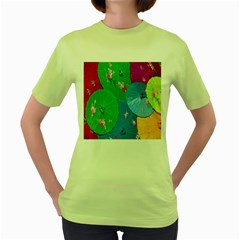 Chinese Umbrellas Screens Colorful Women s Green T-Shirt