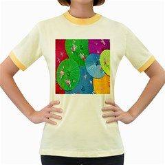 Chinese Umbrellas Screens Colorful Women s Fitted Ringer T-Shirts
