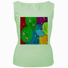 Chinese Umbrellas Screens Colorful Women s Green Tank Top