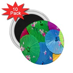 Chinese Umbrellas Screens Colorful 2 25  Magnets (10 Pack)