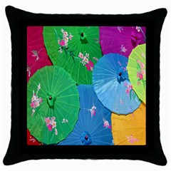 Chinese Umbrellas Screens Colorful Throw Pillow Case (Black)