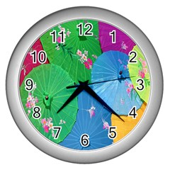 Chinese Umbrellas Screens Colorful Wall Clocks (Silver)