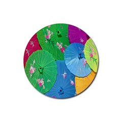 Chinese Umbrellas Screens Colorful Rubber Round Coaster (4 Pack)