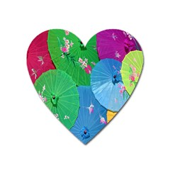 Chinese Umbrellas Screens Colorful Heart Magnet