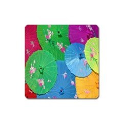 Chinese Umbrellas Screens Colorful Square Magnet