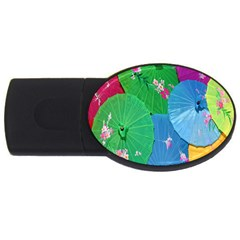 Chinese Umbrellas Screens Colorful USB Flash Drive Oval (2 GB)