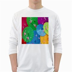 Chinese Umbrellas Screens Colorful White Long Sleeve T-Shirts