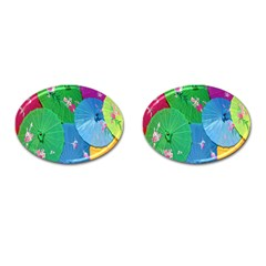 Chinese Umbrellas Screens Colorful Cufflinks (Oval)