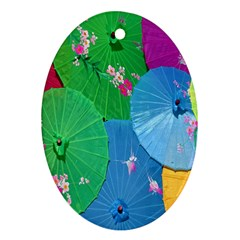 Chinese Umbrellas Screens Colorful Oval Ornament (Two Sides)