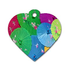 Chinese Umbrellas Screens Colorful Dog Tag Heart (One Side)