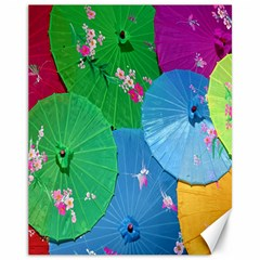 Chinese Umbrellas Screens Colorful Canvas 11  x 14