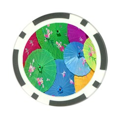 Chinese Umbrellas Screens Colorful Poker Chip Card Guard