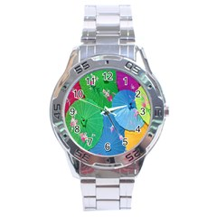 Chinese Umbrellas Screens Colorful Stainless Steel Analogue Watch