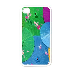 Chinese Umbrellas Screens Colorful Apple iPhone 4 Case (White)