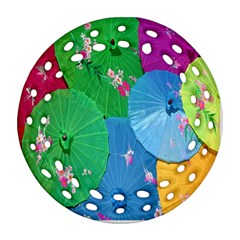 Chinese Umbrellas Screens Colorful Round Filigree Ornament (Two Sides)
