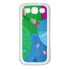 Chinese Umbrellas Screens Colorful Samsung Galaxy S3 Back Case (white)