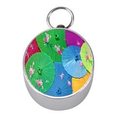 Chinese Umbrellas Screens Colorful Mini Silver Compasses