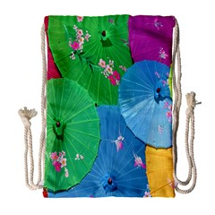 Chinese Umbrellas Screens Colorful Drawstring Bag (large)