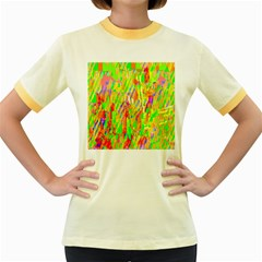 Cheerful Phantasmagoric Pattern Women s Fitted Ringer T-Shirts