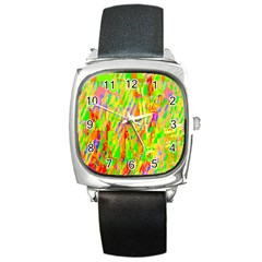 Cheerful Phantasmagoric Pattern Square Metal Watch