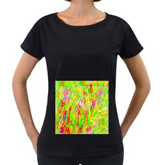 Cheerful Phantasmagoric Pattern Women s Loose-Fit T-Shirt (Black)