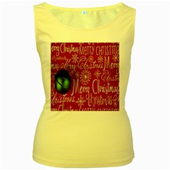 Christmas Decorations Retro Women s Yellow Tank Top